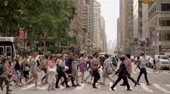 Crowded street packed with people. urban city lifestyle scene Stock Footage