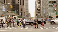 Urban lifestyle scene of people commuting in business district Stock Footage