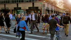 Rush hour time in new york city. people walking on street Stock Footage