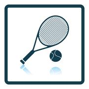 Icon of Tennis rocket and ball Stock Illustration