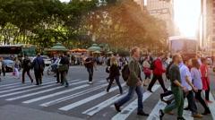 Midtown manhattan scene of people walking on packed street Stock Footage