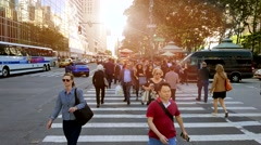 Pedestrians walking on crosswalk in new york city Stock Footage