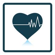 Icon of Heart with cardio diagram Stock Illustration