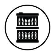 Barrel with wheat symbols icon - stock illustration