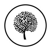 Ecological tree with leaves icon Stock Illustration