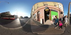 360Vr Video People Walk Along the Road Opole Streets Sysadmin Day Cityscape Stock Footage