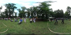 360Vr Video People Actors at Day of Family Picnic Opole People Playing Knights Stock Footage