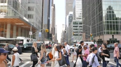 People walking in business city district. midtown manhattan Stock Footage