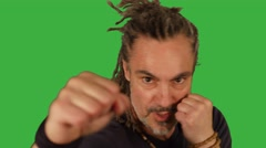 Man boxing against camera isolated on green screen background Stock Footage