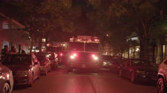 fire trucks emergency scene in the city at night - stock footage