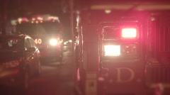 Fire trucks getting emergency call. fireman rescue scene at night - stock footage