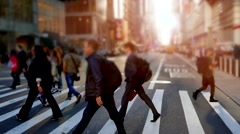 City street scene of people walking. hectic rush hour traffic Stock Footage