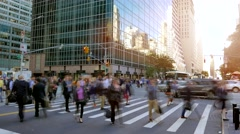 Business people crossing street leaving city workplace Stock Footage