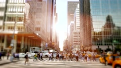 Crowd of business people walking in modern finance city district Stock Footage