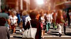 Group of people crossing street in the city Stock Footage