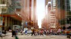 Establishment shot of modern business district. people walking in the city Stock Footage