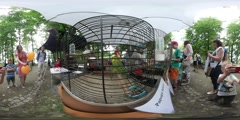 360Vr Video People Parrots in Cages Family Picnic Day Opole Summer Sunny Day Stock Footage