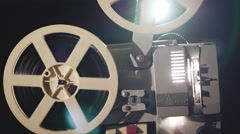 Old film projector is working. Close up Stock Footage