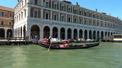 The most famous tourist attraction in Venice - the Gondola service - stock footage