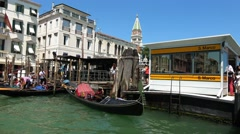 Waterbus stop San Marco at St. Mark´s Sqaure in Venice Stock Footage