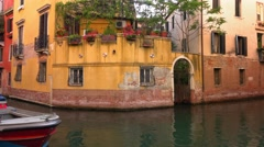 Colorful Italian style buildings in Venice Stock Footage