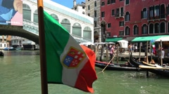 Italian Flag at Rialto Bridge in Venice Stock Footage