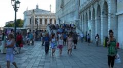 Busy area Riva degli Schiavoni in Venice San Marco Stock Footage