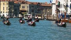 Gondola service in the city of Venice Italy Stock Footage