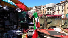 The typical Gondola service in Venice - city of love Stock Footage