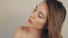 Natural Beauty Woman looking up - stock footage