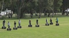Segway travel two-wheeler guided tour outdoor recreation  Stock Footage