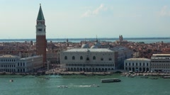 Famous Campanile Tower at St. Mark´s Square in Venice Stock Footage