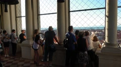 The observation deck of Campanile Tower in Venice Stock Footage