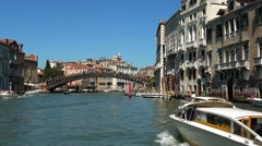 The Grand Canal in the historic city center of Venice Stock Footage