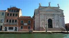 Church at Campo dei Santissimo Redentore in Venice Stock Footage