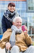 Senior man with disability outdoor - stock photo