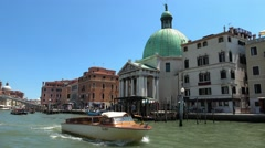 Water taxi on Grand Canal in Venice Stock Footage