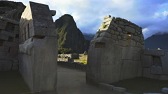 Machu picchu ruins main temple gimbal shot Stock Footage
