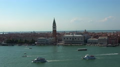 Beautiful aerial view over the city skyline of Venice San Marco Stock Footage