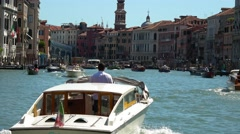 Boat cruise through Gand Canal in Venice - Canale Grande Stock Footage