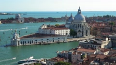 Aerial view over Salute church at Grand Canal in Venice - stock footage