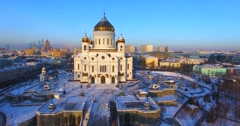 Breathtaking aerial close view of the Cathedral of Christ the Saviour. Stock Footage