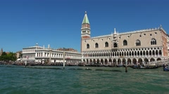 Famous Doge´s Palace in Venice at St. Mark´s Square Stock Footage