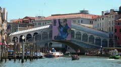 Famous Rialto Bridge Venice under construction Stock Footage