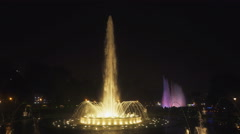 Wide angle night shot of the magic fountain at park of the reserve in lima Stock Footage