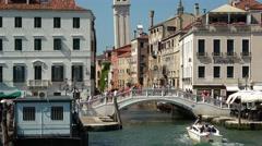Riva dei Schiavoni pedestrian Bride in Venice San Marco Stock Footage