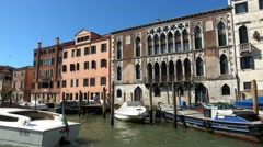 Beautiful old mansions at Grand Canal in Venice city center Stock Footage