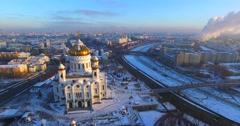 Cathedral of Christ the Saviour against the background of megapolis of Moscow. Stock Footage