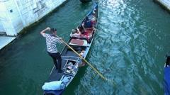 Romantic Gondola service in the city of Venice Stock Footage