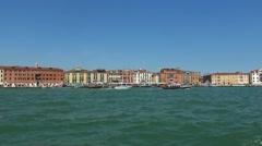 Wide angle view over Riva dei Schiavoni in Venice Stock Footage